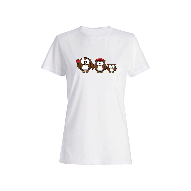 تی شرت نخی زنانه طرح جغد کد 3890
