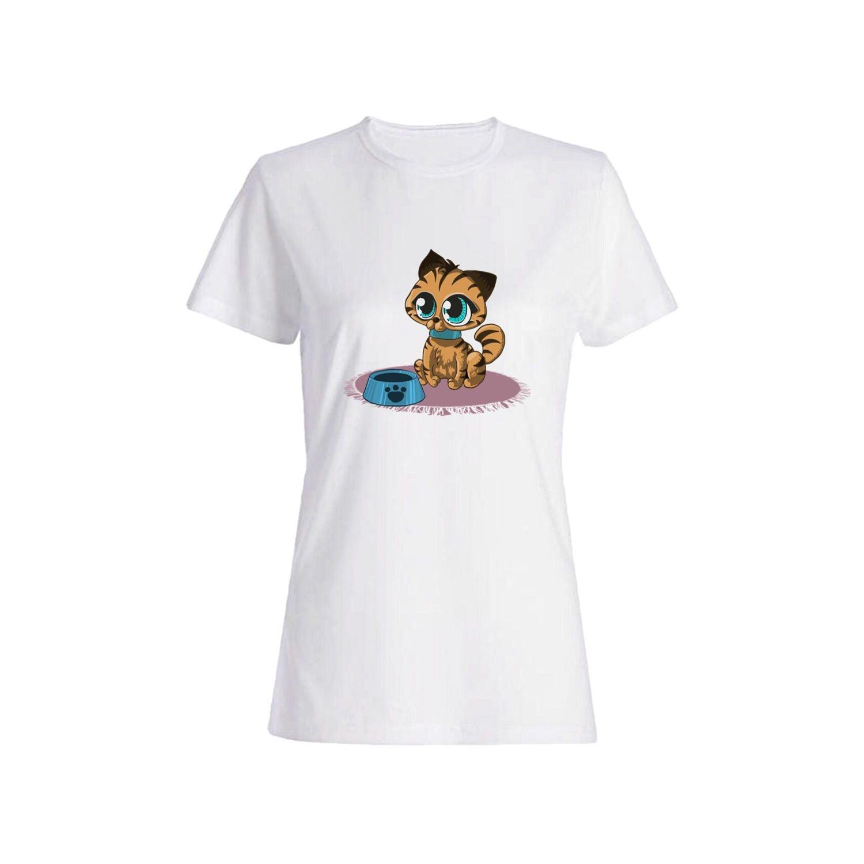 تی شرت نخی زنانه طرح گربه کد 3881