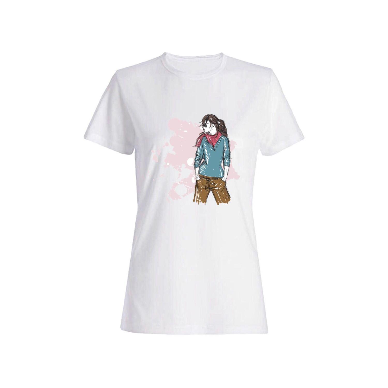 تی شرت نخی زنانه طرح دختر کد 3879