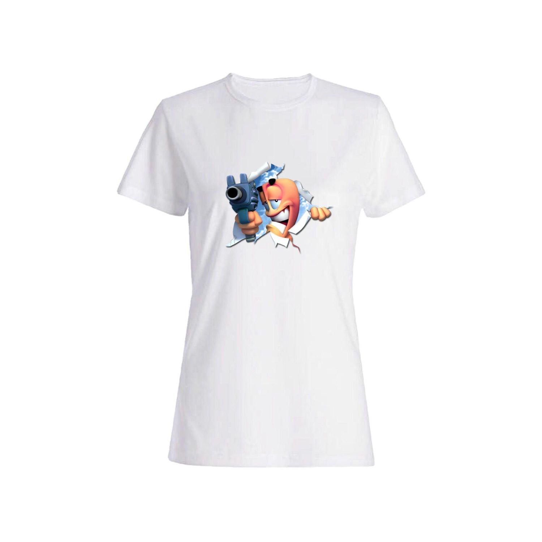 تی شرت نخی زنانه طرح تفنگ کد 3877