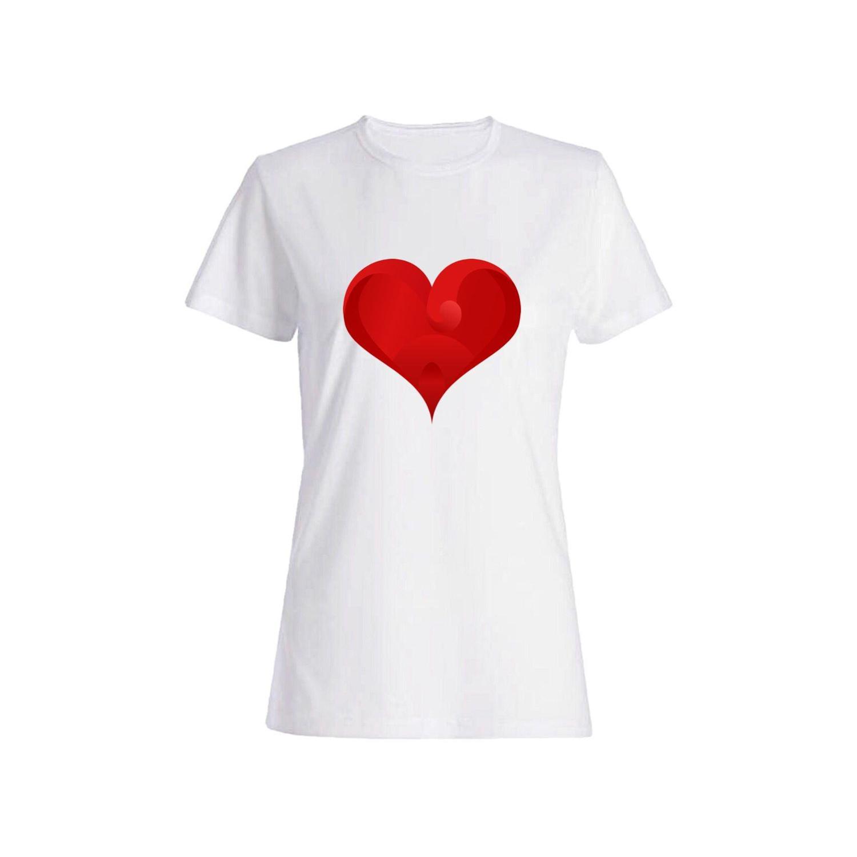 تی شرت نخی زنانه طرح قلب کد 3874