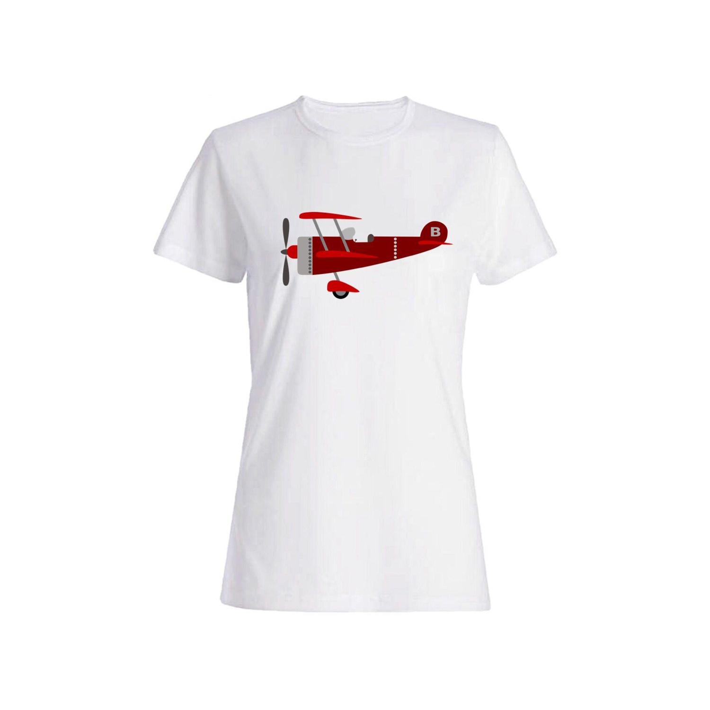 تی شرت نخی زنانه طرح هواپیما کد 3854