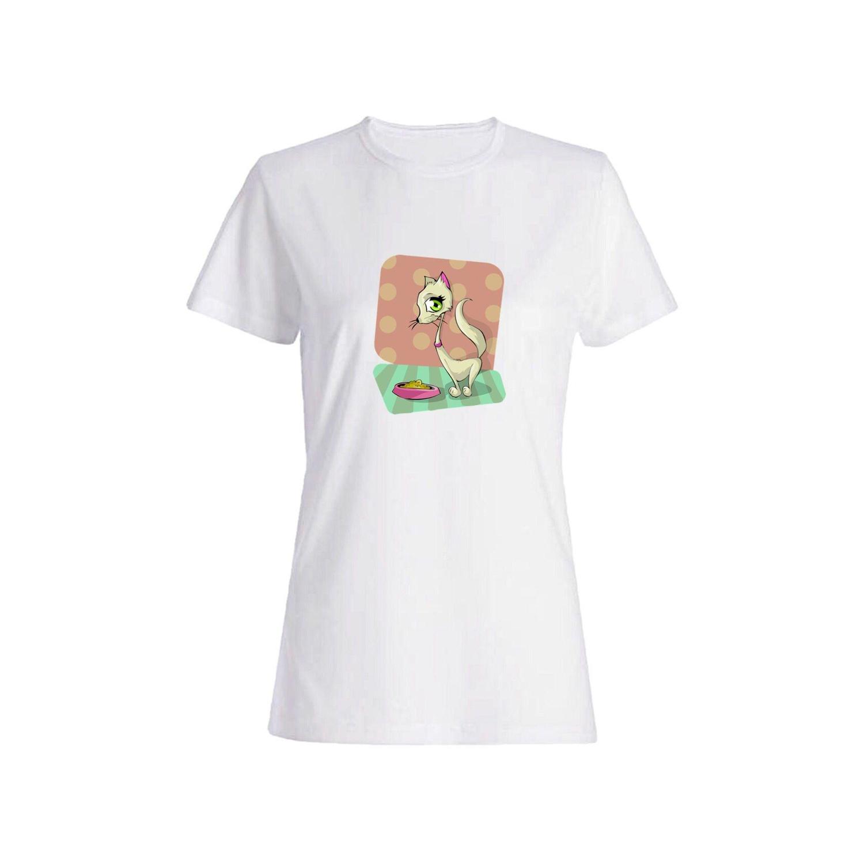 تی شرت نخی زنانه طرح گربه کد 3847