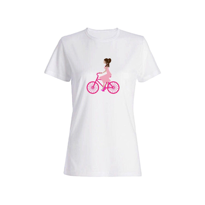 تی شرت نخی زنانه طرح دوچرخه کد 3839