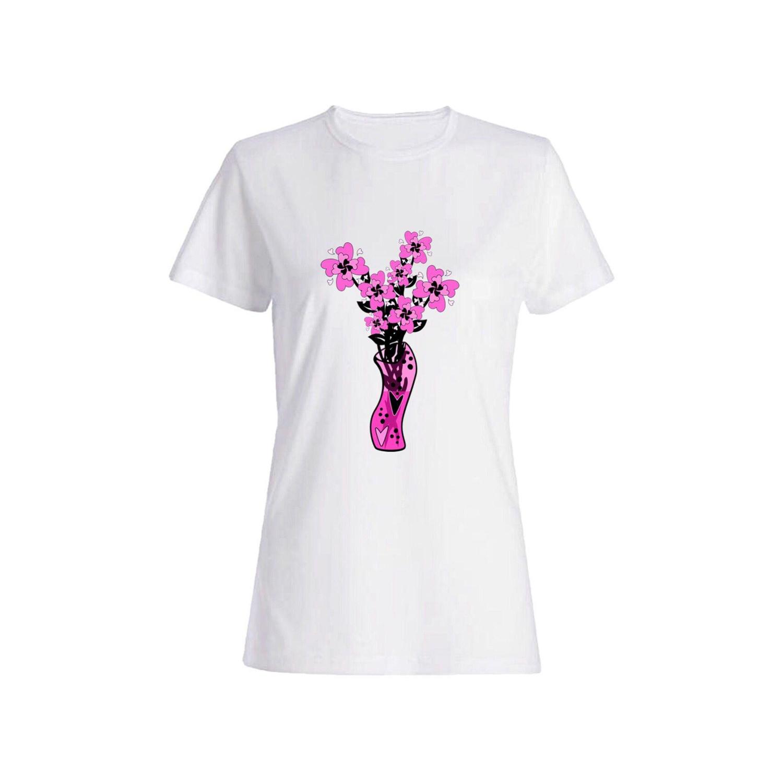 تی شرت نخی زنانه طرح گل کد 2673