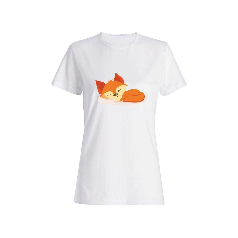 تی شرت نخی زنانه طرح روباه کد 2664
