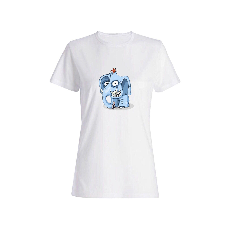 تی شرت نخی زنانه طرح فیل کد 2656
