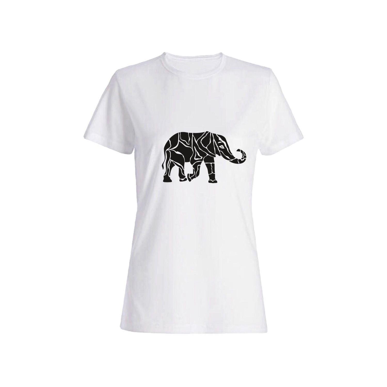 تی شرت نخی زنانه طرح فیل کد 2655