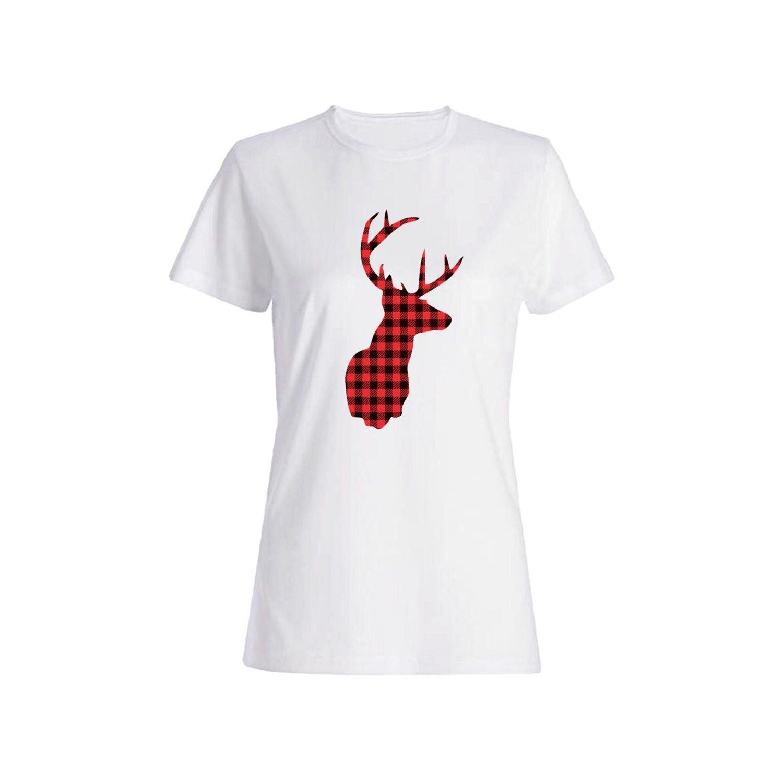 تی شرت نخی زنانه طرح گوزن کد 2646