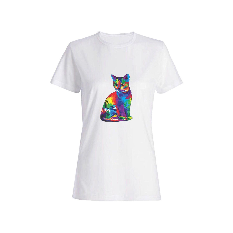 تی شرت نخی زنانه طرح گربه کد 2622