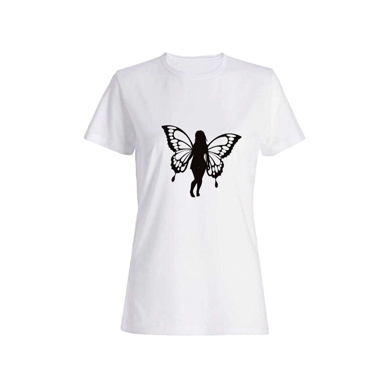 تی شرت نخی زنانه طرح پروانه کد 2617