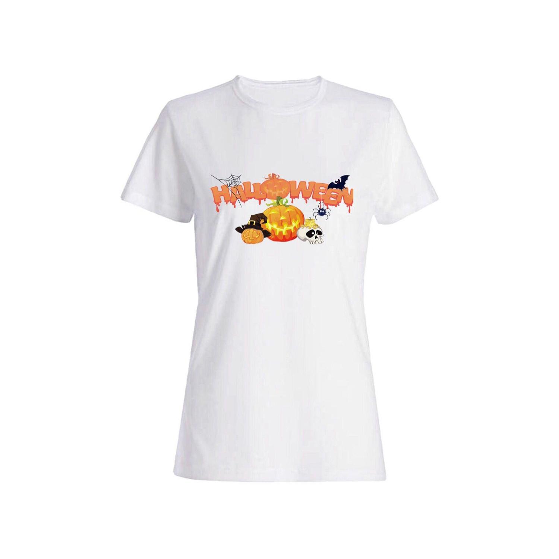 تی شرت نخی زنانه طرح هالوین کد 2607