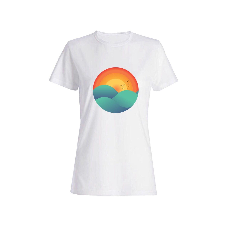 تی شرت نخی زنانه طرح غروب کد 2702
