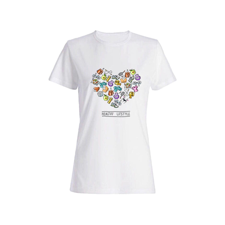 تی شرت نخی زنانه طرح قلب کد 5922