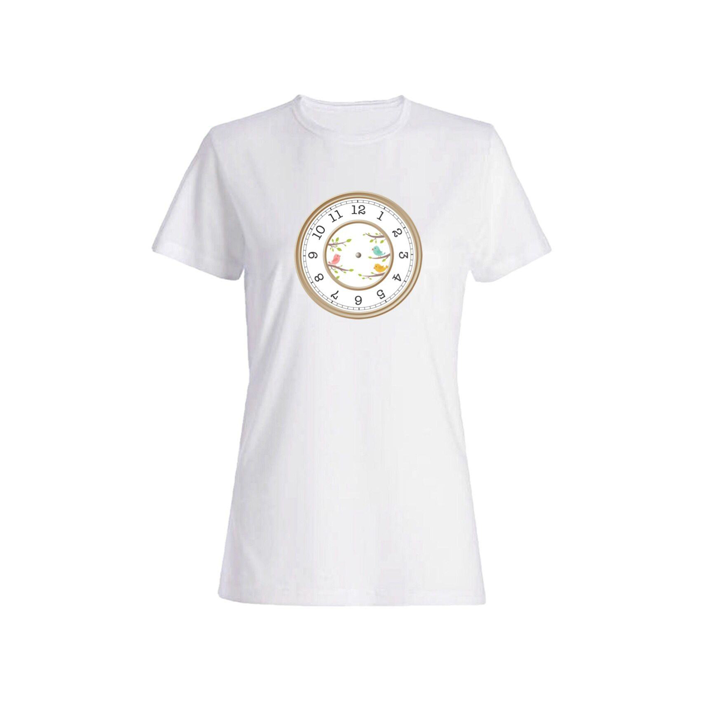 تی شرت نخی زنانه طرح ساعت کد 4157