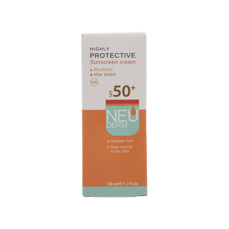 کرم ضد آفتاب نئودرم مدل Highly Protective Max Tinted SPF50 مناسب پوست خشک و معمولی حجم 50 میلی لیتر - بژ تیره