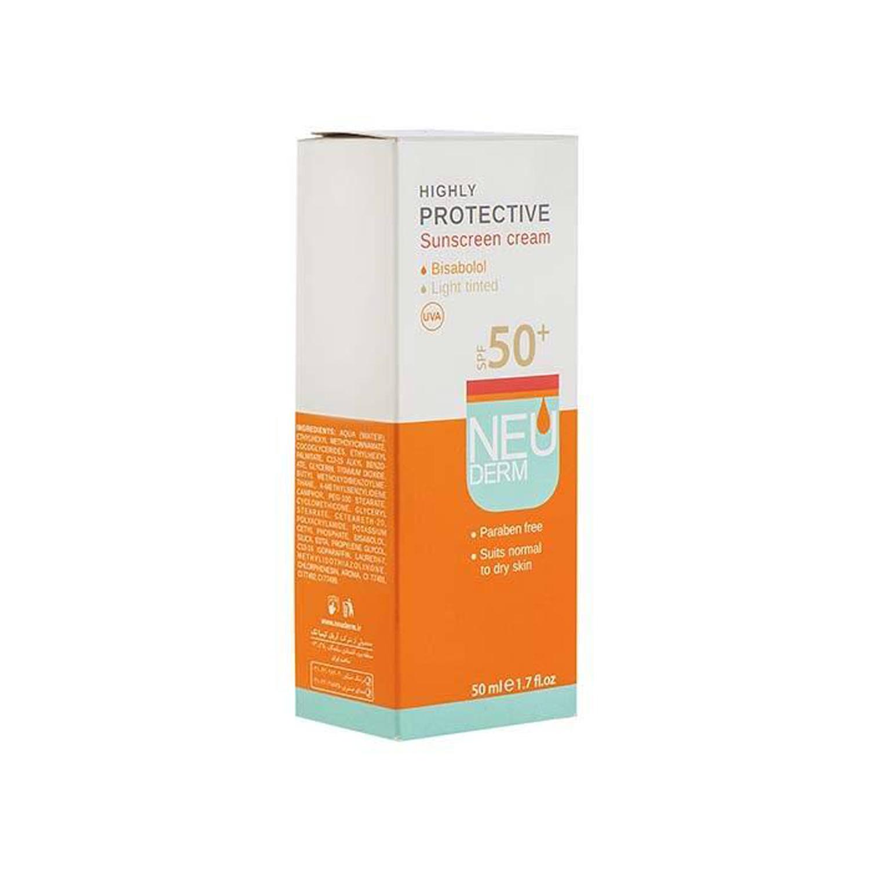 کرم ضد آفتاب نئودرم مدل Highly Protective Light Tinted SPF50 مناسب پوست خشک و معمولی حجم 50 میلی لیتر - بژ روشن