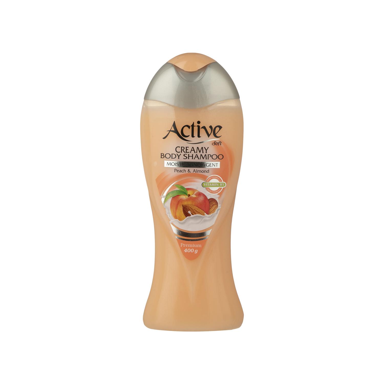شامپو بدن کرمی اکتیو مدل Peach And Almond وزن 400 گرم
