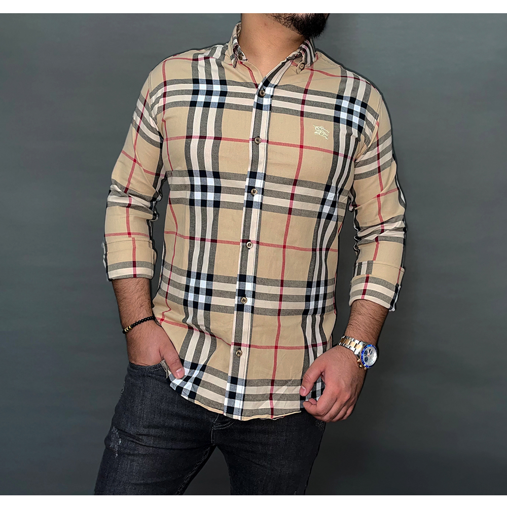 پیراهن نخی مردانه طرح Burberry کد 155