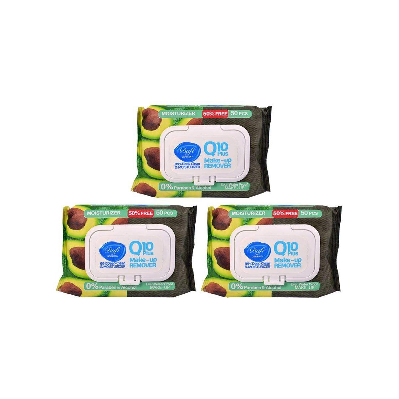 دستمال مرطوب پاک کننده آرایش دافی مدل Q10-Moisturizer آووکادو مجموعه 3 عددی