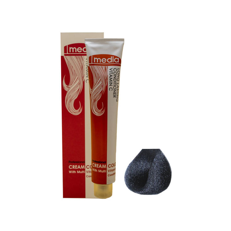 رنگ مو مدیا سری خاکستری شماره 1.1 حجم 100 میلی لیتر
