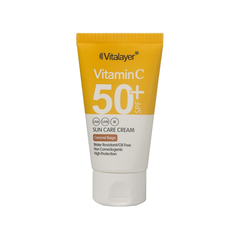 کرم ضد آفتاب ویتالیر مدل ویتامین C حجم 40 میلی لیتر - بژ کاراملی