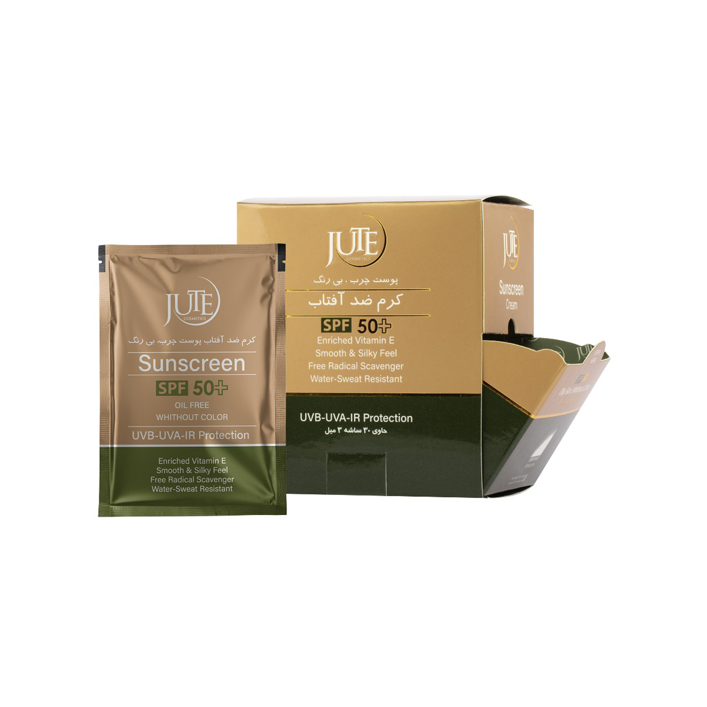 کرم ضد آفتاب ژوت SPF 50 مدل Oil Free مناسب پوست چرب حجم 3 میلی لیتر بسته 30 عددی