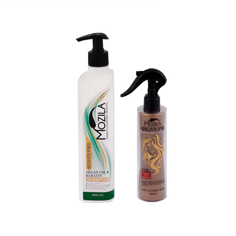 شامپو فاقد پارابن موزیلا مدل Argan Oil & Keratin حجم 500 میلی لیتر به همراه ماسک مو دو فاز طلایی موزیلا مدل Argan Oil حجم 200 میلی لیتر
